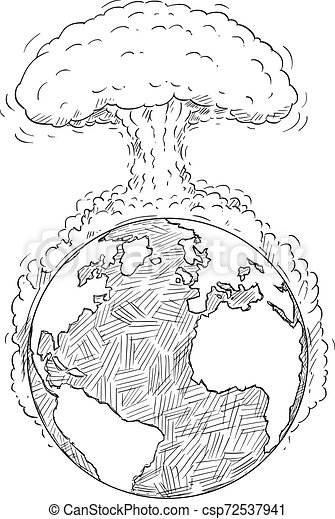 Vector Cartoon Drawing of World Destroyed by Nuclear Explosion or War - csp72537941