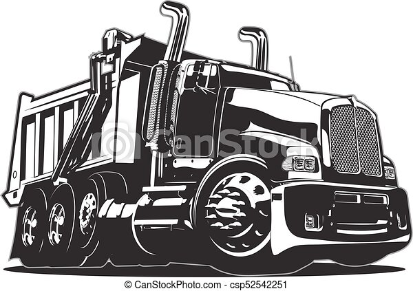 Vector Cartoon Dump Truck - csp52542251