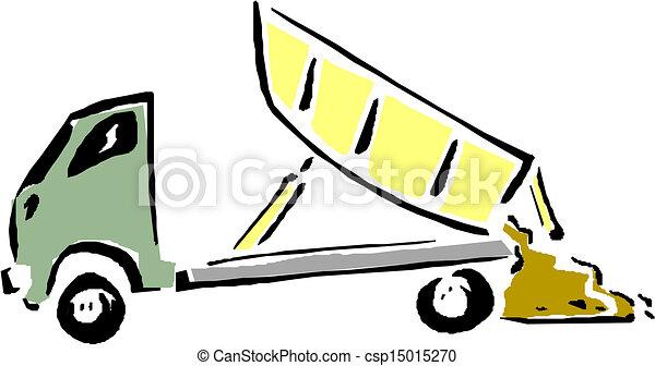 Vector cartoon dump truck. - csp15015270