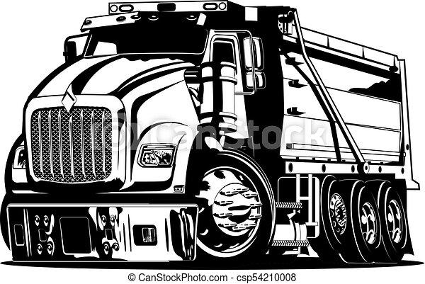 Vector Cartoon Dump Truck - csp54210008