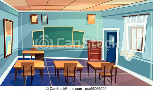 Vector Cartoon Empty Elementary High School College University Classroom Background Illustration Room Interior Indoor Objects