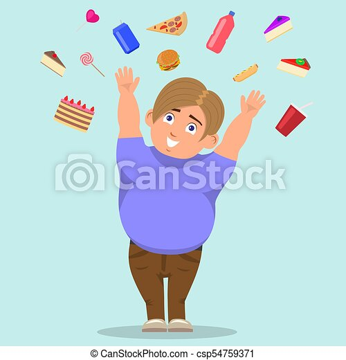 Vector cartoon fat boy catching sweets