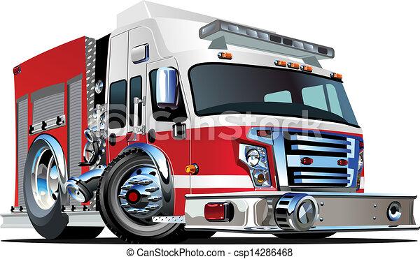 Vector Cartoon Fire Truck - csp14286468