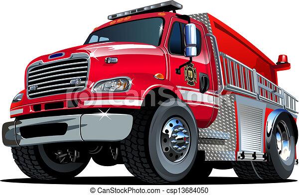 Vector Cartoon Fire Truck - csp13684050