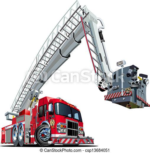 Vector Cartoon Fire Truck - csp13684051