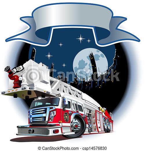 Vector Cartoon Fire Truck - csp14576830