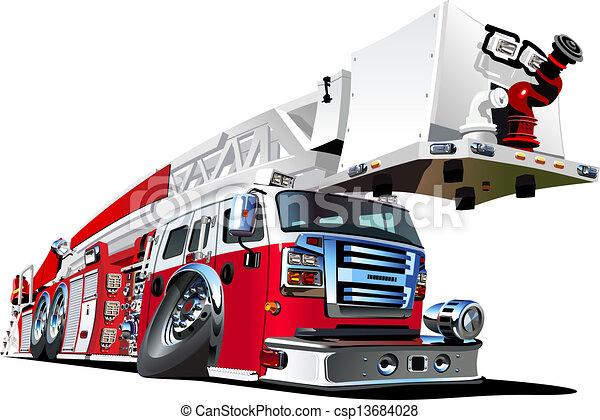 Vector cartoon fire truck - csp13684028