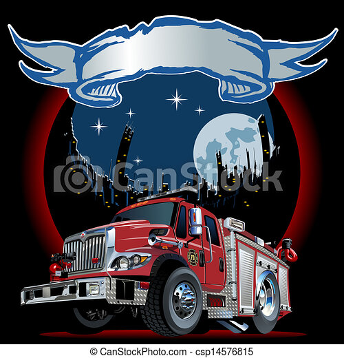Vector Cartoon Fire Truck - csp14576815
