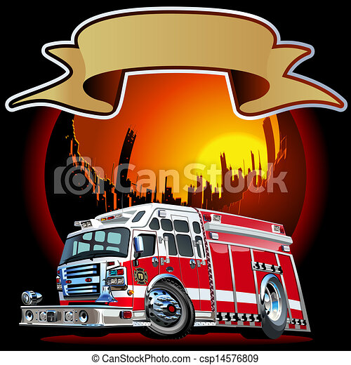 Vector Cartoon Fire Truck - csp14576809
