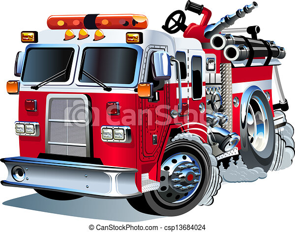 Vector cartoon firetruck - csp13684024