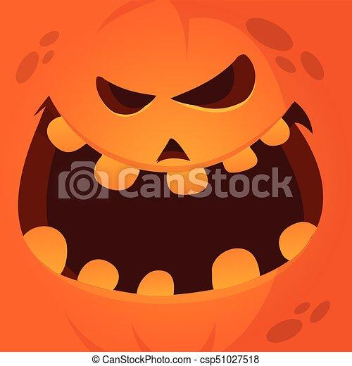 Halloween Pumpkin Vector Art.Vector Cartoon Funny Halloween Pumpkin Face Smiling