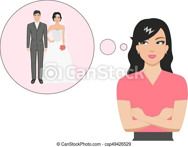 Vector cartoon girl dreaming about a wedding - csp49426529