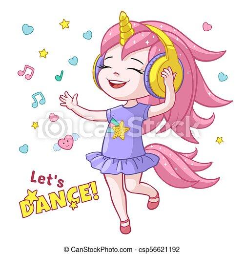 Vector Cartoon Girl Kid Dancing Headphone Horn Vector Cartoon Lets Dance Poster With Cute Girl Kid Dancing In Headphones