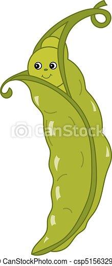Vector Cartoon Green Peas In Pod Vector Cute Cartoon Green Pea With