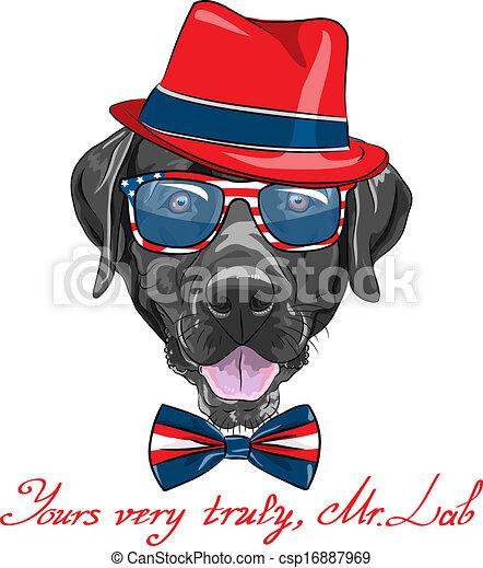 vector cartoon hipster dog Labrador - csp16887969