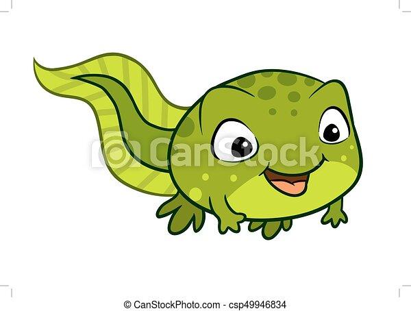 vector cartoon illustration of a cute happy tadpole vector rh canstockphoto com Cartoon Tadpole tadpole clipart black and white