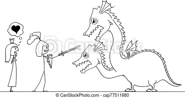 Vector Cartoon Illustration of Man Knight or Man in Armor Going to Fight with Dragon For His Princess or Love - csp77511680