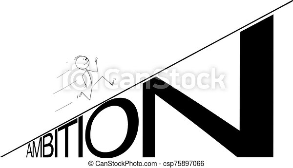 Vector Cartoon Illustration of Man or Businessman Running Up the Ambition Hill. Business or Career Concept - csp75897066