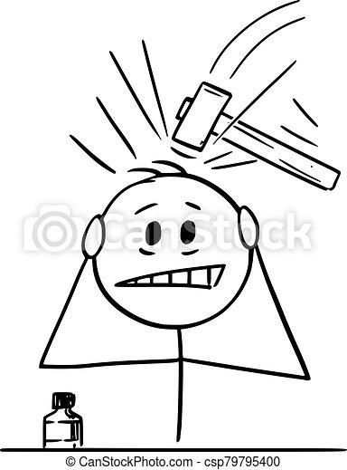 Vector Cartoon Illustration Of Man Suffering From Severe Headache Or Head Pain Or Migraine Vector Cartoon Stick Figure