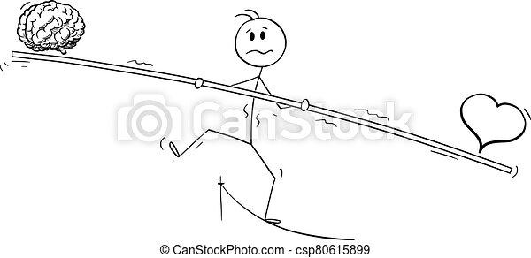Vector Cartoon Illustration of Tightrope Walker, Man or Businessman Walking on Rope. Balancing Heart and Brain. - csp80615899