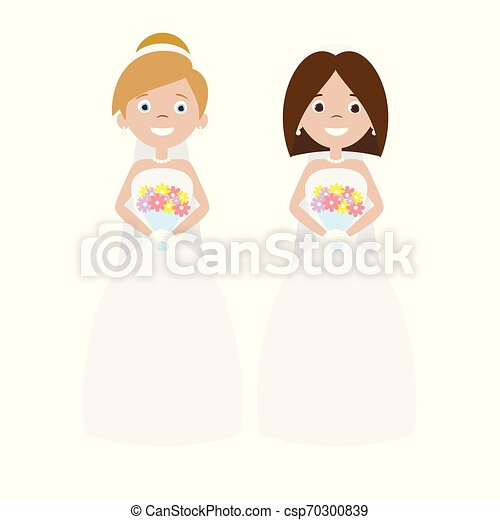 Vector Cartoon Lesbian Lgbt Couple Wedding Brides Vector Flat Cartoon Lesbian Lgbt Couple Wedding Brides Isolated On White Canstock