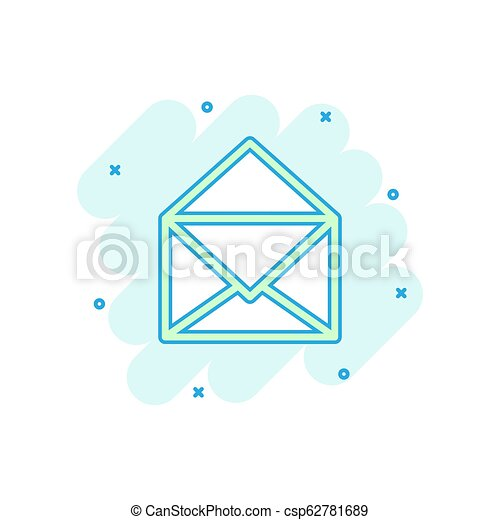 Vector cartoon mail envelope icon in comic style. Email sign illustration pictogram. E-mail business splash effect concept. - csp62781689