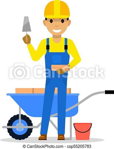 Vector cartoon man bricklayer stands with a brick - csp55205783