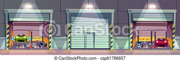 Vector cartoon mechanic workshop with car, garage - csp61786657