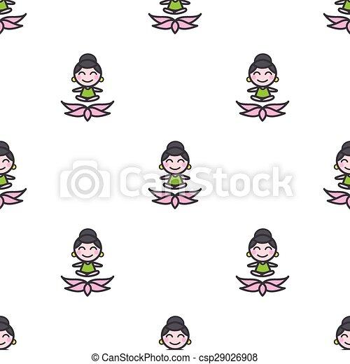 Vector Cartoon Meditating Yoga Girl Seamless Pattern Vector Funny Cartoon Meditating Yoga Girl Seamless Pattern
