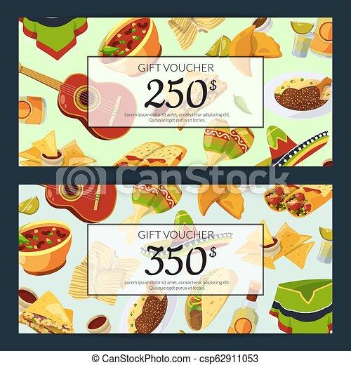 Vector cartoon mexican food discount or gift voucher ...