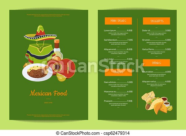 Mexican Food Style. Mexican Cuisine Concept. Traditional Menu... Royalty Free  Cliparts, Vectors, And Stock Illustration. Image 58740722.