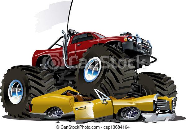 Vector Cartoon Monster Truck - csp13684164