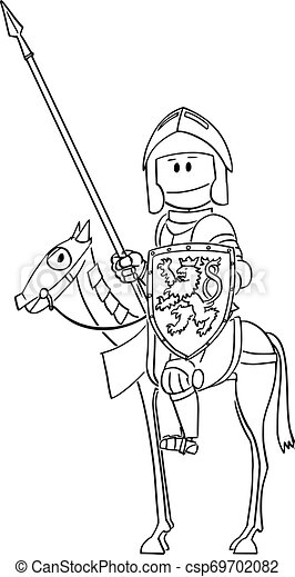 Vector Cartoon of Knight in Armor and with Lance and Shield Sitting or Riding on Horse - csp69702082