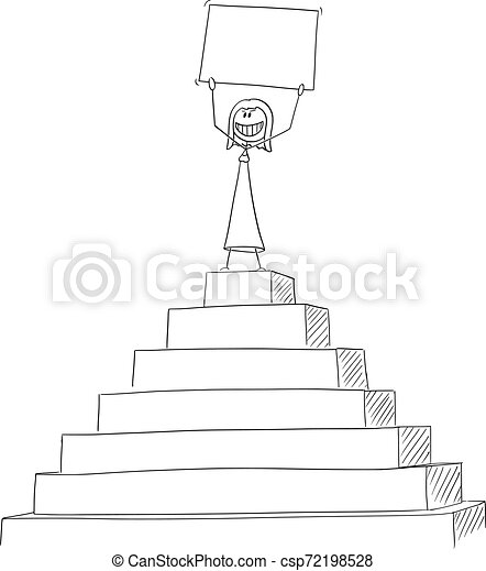 vector cartoon of successful woman or businesswoman celebrating success on the peak of the pyramid holding empty sign in https www canstockphoto com vector cartoon of successful woman or 72198528 html