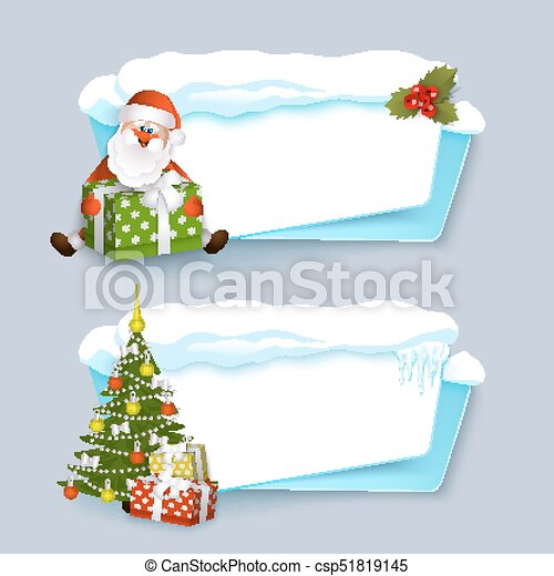 Vector Cartoon Realistic Winter Banner Set Vector Cartoon Winter Empty Banner Templates Wit Snow Caps Icicles And Christmas Here's a christmas tree tutorial we found at drawing how to but this one includes some packages at the foot of it all. can stock photo