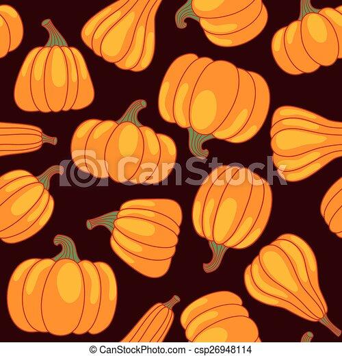 Vector cartoon seamless pattern with pumpkin - csp26948114