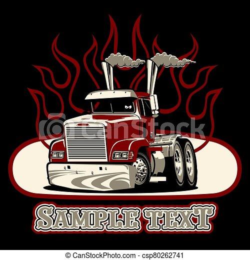 Vector Cartoon semi truck - csp80262741