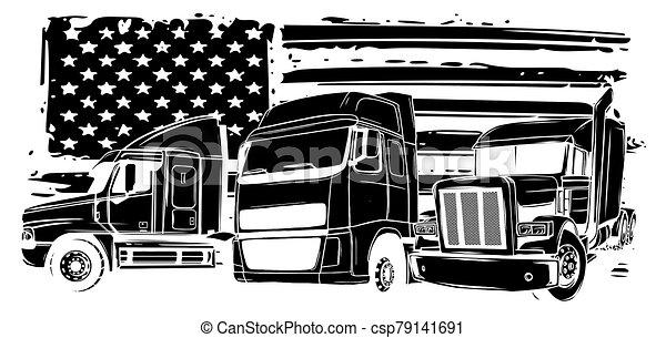 Vector cartoon semi truck illustration design art - csp79141691