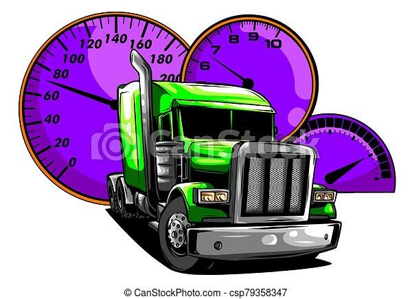 Vector cartoon semi truck illustration design art - csp79358347