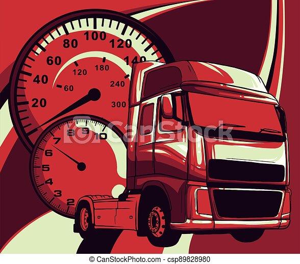 Vector cartoon semi truck illustration design art - csp89828980