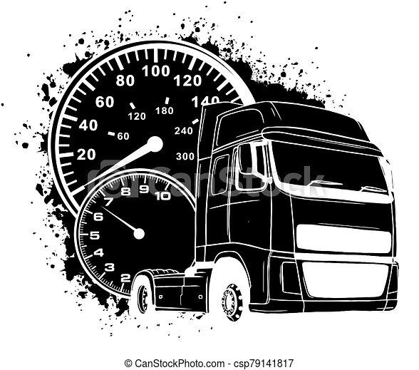 Vector cartoon semi truck illustration design art - csp79141817