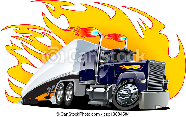 Vector Cartoon Semi Truck. One-click repaint - csp13684584