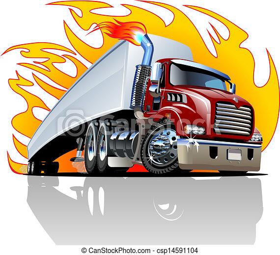 Vector Cartoon Semi Truck. One-click repaint - csp14591104