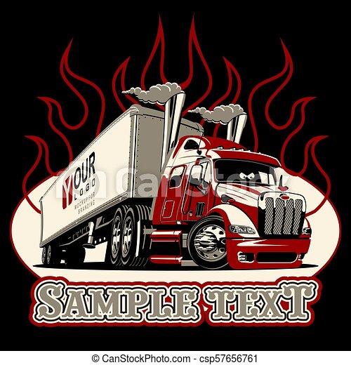 Vector cartoon semi truck template - csp57656761
