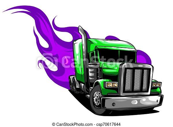 Vector Cartoon Semi Truck. vector illustration design - csp70617644
