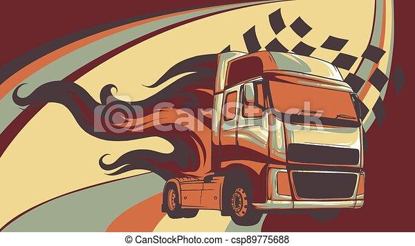 Vector Cartoon Semi Truck. vector illustration design - csp89775688