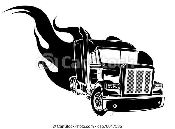 Vector Cartoon Semi Truck. vector illustration design - csp70617535