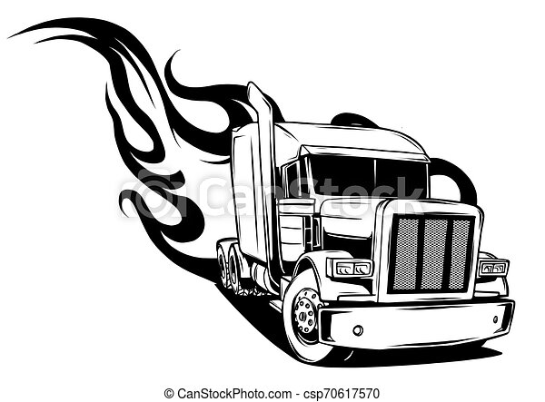 Vector Cartoon Semi Truck. vector illustration design - csp70617570
