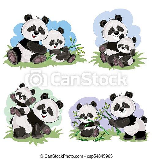 Vector Cartoon Set Of Cute Panda Bear Characters Cute Baby Panda