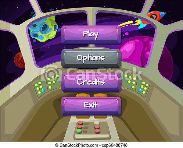 Vector Cartoon Style Enabled And Disabled Buttons With Text For Game - Spaceship design game